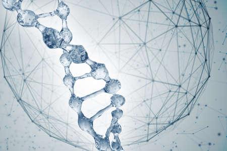 Science background with DNA molecules. 3D rendering Foto de archivo