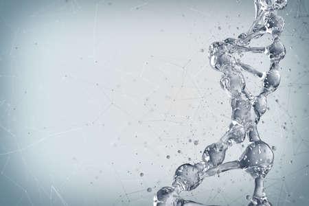Fondo de la ciencia con las moléculas de la DNA. Representación 3D