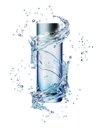 Cream bottle mock up in water splash on white background. 3D illustration
