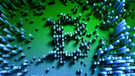 Abstract numbers Random motion in the form of coins bitcoin Multicolor 3d