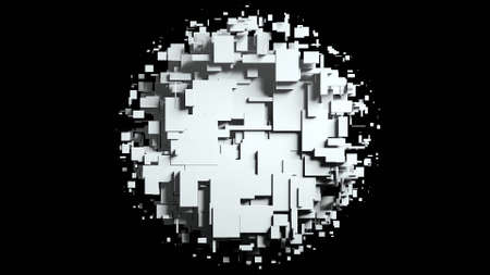 Black and white cubes screen wipe transition . 3D animation Banque d'images
