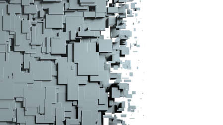 Black and white cubes screen wipe transition. 3D
