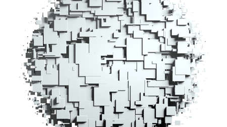 Black and white cubes screen wipe transition . White background 3D animation