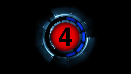 Countdown leader graphic number 4 3d rendering