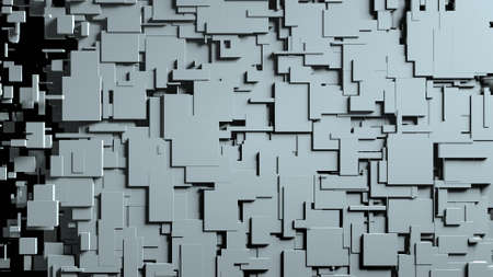 Black and white cubes screen wipe transition. 3D rendering