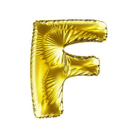 Golden letter F made of inflatable balloon isolated on white background. 3d rendering Stock Photo
