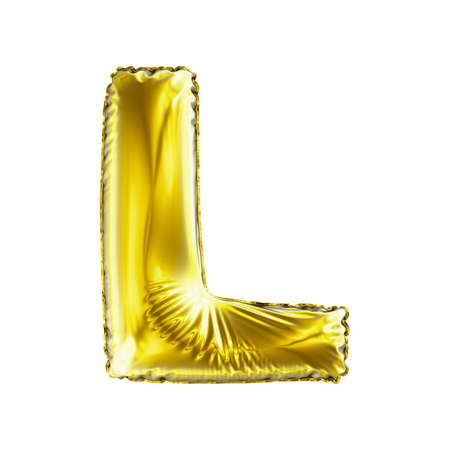 Golden letter L made of inflatable balloon isolated on white background. 3d rendering Banco de Imagens - 99797708