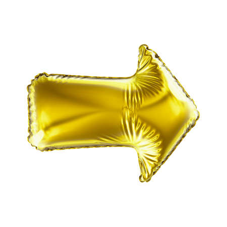 Golden arrow icon made of inflatable balloon isolated on white background. 3d rendering