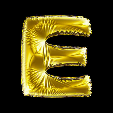 Golden letter E made of inflatable balloon isolated on black background. 3d rendering