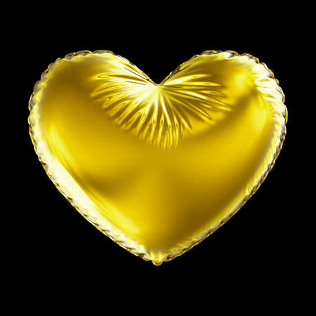 Golden heart made of inflatable balloon isolated on black background. 3d rendering