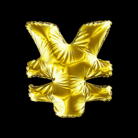 Gold symbol Japanese yen made of inflatable balloon isolated on black background. 3d rendering