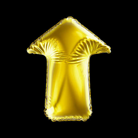 Golden arrow icon made of inflatable balloon isolated on black background. 3d rendering