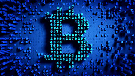 Abstract numbers Random motion in the form of coins bitcoin, blue color 3d rendering