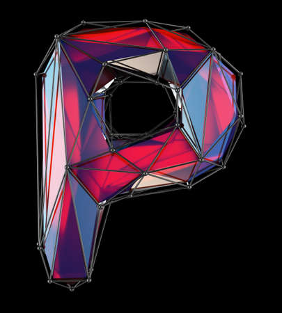 Capital latin letter P in low poly style red color isolated on black background. 3d rendering