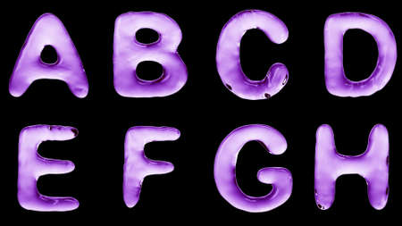 Alphabet from water isolated on a black background. The letter A B C D E F G H. 3d rendering 4 K