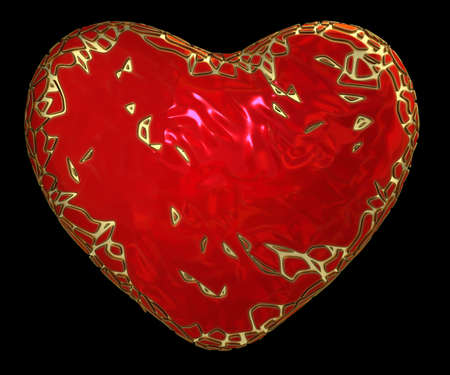 heart made in low poly style red color isolated on black background. 3d rendering Stock Photo