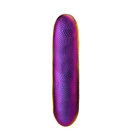Letter I made of natural snake skin texture purpur color. 3D letter render isolated on white. 3d rendering Reklamní fotografie