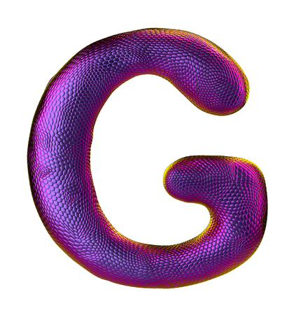 Letter G made of natural snake skin texture purpur color. 3D letter render isolated on white. 3d rendering
