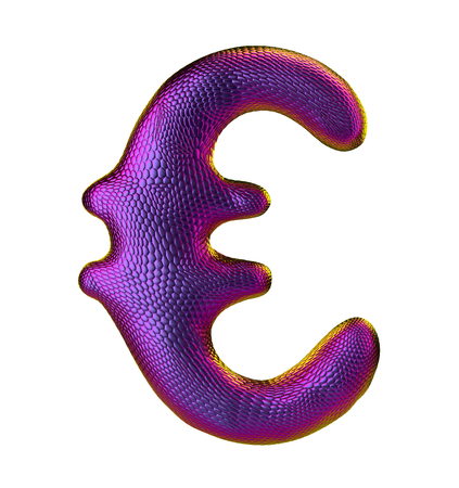 Euro sign made of natural snake skin texture purpur color. Isolated on white. 3d rendering