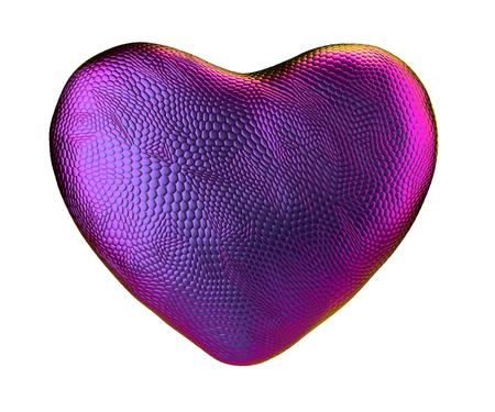 Heart made of natural snake skin texture purpur color isolated on white. 3d rendering Reklamní fotografie