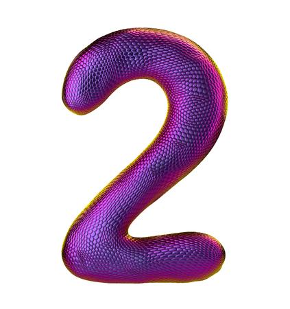 Number 2. 3D render of natural snake skin texture color purpur isolated on white background. Reklamní fotografie