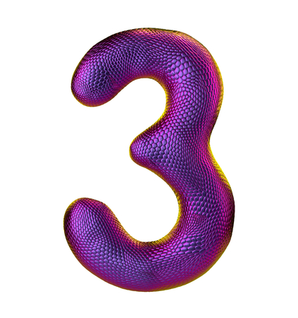 Number 3. 3D render of natural snake skin texture color purpur isolated on white background. Reklamní fotografie