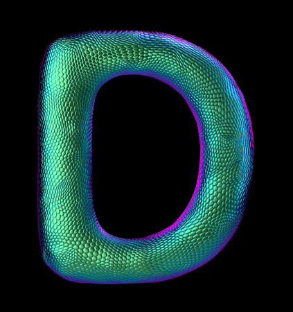 Letter D made of natural green snake skin texture isolated on black. 3d rendering Stock Photo