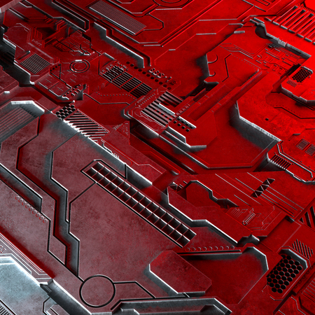 Abstract technological background made of different element printed circuit board and flares. 3d rendering Фото со стока