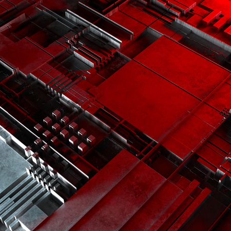 Abstract technological background made of different element printed circuit board and flares. 3d rendering Stock Photo