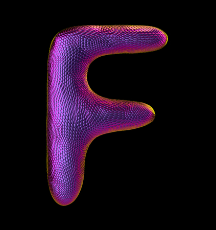 Letter F made of natural purple snake skin texture isolated on black. 3d rendering