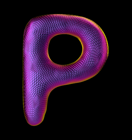 Letter P made of natural purple snake skin texture isolated on black. 3d rendering Stock Photo