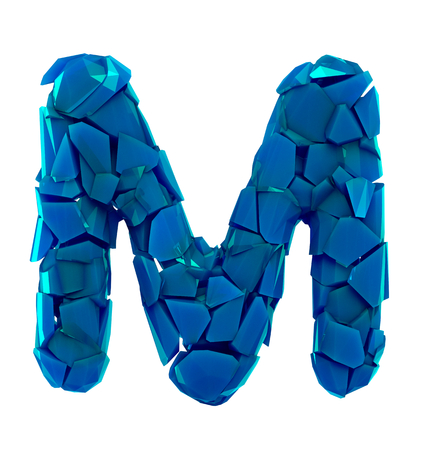 Alphabet made of plastic shards blue color isolated on white background- letter M 3d rendering
