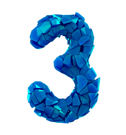 Number three 3 in a 3D illustration made of broken plastic blue color isolated white background Stock fotó