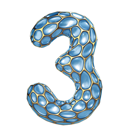 Number 3 three made of golden shining metallic 3D with blue glass isolated on white background. 3d rendering