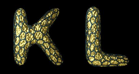 Alphabet made of realistic 3d render natural  snake skin texture. Stock fotó