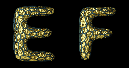 Realistic 3D letter set E, F made of gold shining metal. Banco de Imagens