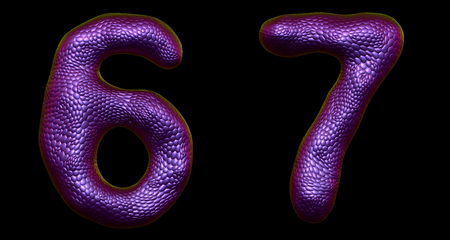Number set 6, 7 made of realistic 3d render purple color. Collection of natural snake skin texture style symbol isolated on black background