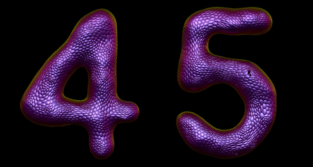 Number set 4, 5 made of realistic 3d render purple color. Collection of natural snake skin texture style symbol isolated on black background