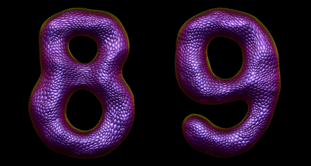 Number set 8, 9 made of realistic 3d render purple color. Collection of natural snake skin texture style symbol isolated on black background Stock Photo