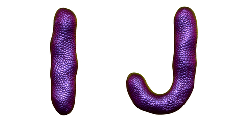 Letter set I, J made of realistic 3d render natural purple snake skin texture. Collection of snake skin texture with purple color symbol isolated on white background
