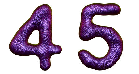 Number set 4, 5 made of realistic 3d render purple color. Collection of natural snake skin texture style symbol isolated on white background Stock Photo