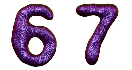 Number set 6, 7 made of realistic 3d render purple color. Collection of natural snake skin texture style symbol isolated on white background