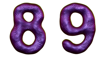 Number set 8, 9 made of realistic 3d render purple color. Collection of natural snake skin texture style symbol isolated on white background