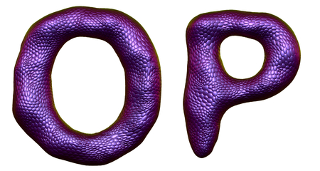 Letter set O, P made of realistic 3d render natural purple snake skin texture. Collection of snake skin texture with purple color symbol isolated on white background