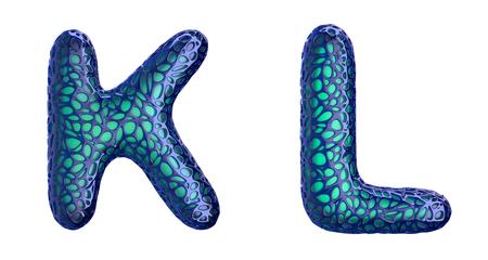 Realistic 3D letters set K, L made of blue plastic. Stock fotó