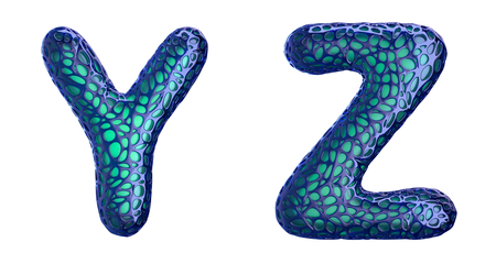 Realistic 3D letters set Y, Z made of blue plastic.