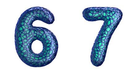 Number set 6, 7 made of blue plastic.