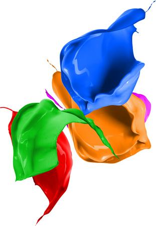 Farbige Spritzer in abstrakter Form, lokalisiert auf weißem Hintergrund. 3D-Rendering