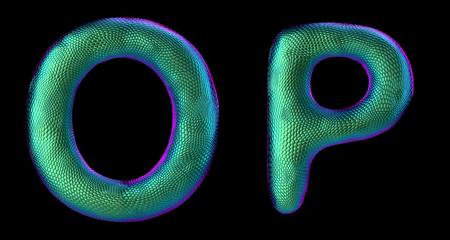 Letter set O, P made of realistic 3d render natural green snake skin texture. Collection of snake skin texture with green color symbol isolated on black background