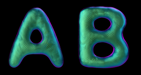 Letter set A, B made of realistic 3d render natural green snake skin texture. Collection of snake skin texture with green color symbol isolated on black background